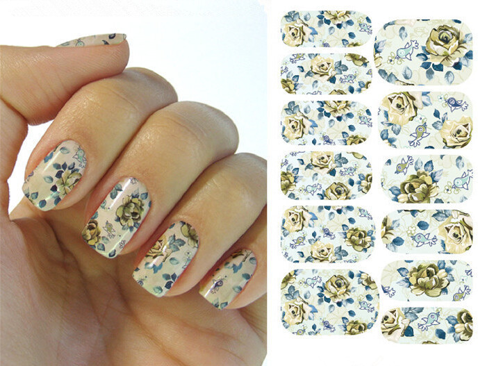Water Transfer Nail Art Stickers Decal Full Wraps Chinese