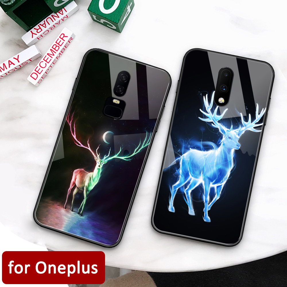 Oneplus 6t Case Glass back cover artical animal deer Oneplus coque 7 pro case for Oneplus 1+ 5 5T Oneplus 6 6t 7 pro