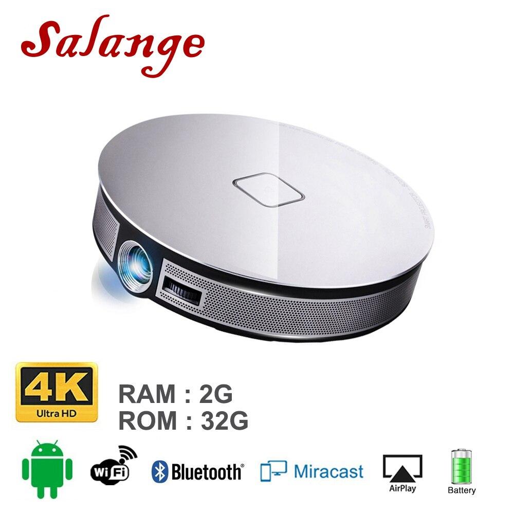 Salange D8S проектор Портативный 2 г + 16 г 1280*720 Разрешение Встроенный Android 6,0 3D двойной WI-FI 12000 мАч Батарея Proyector