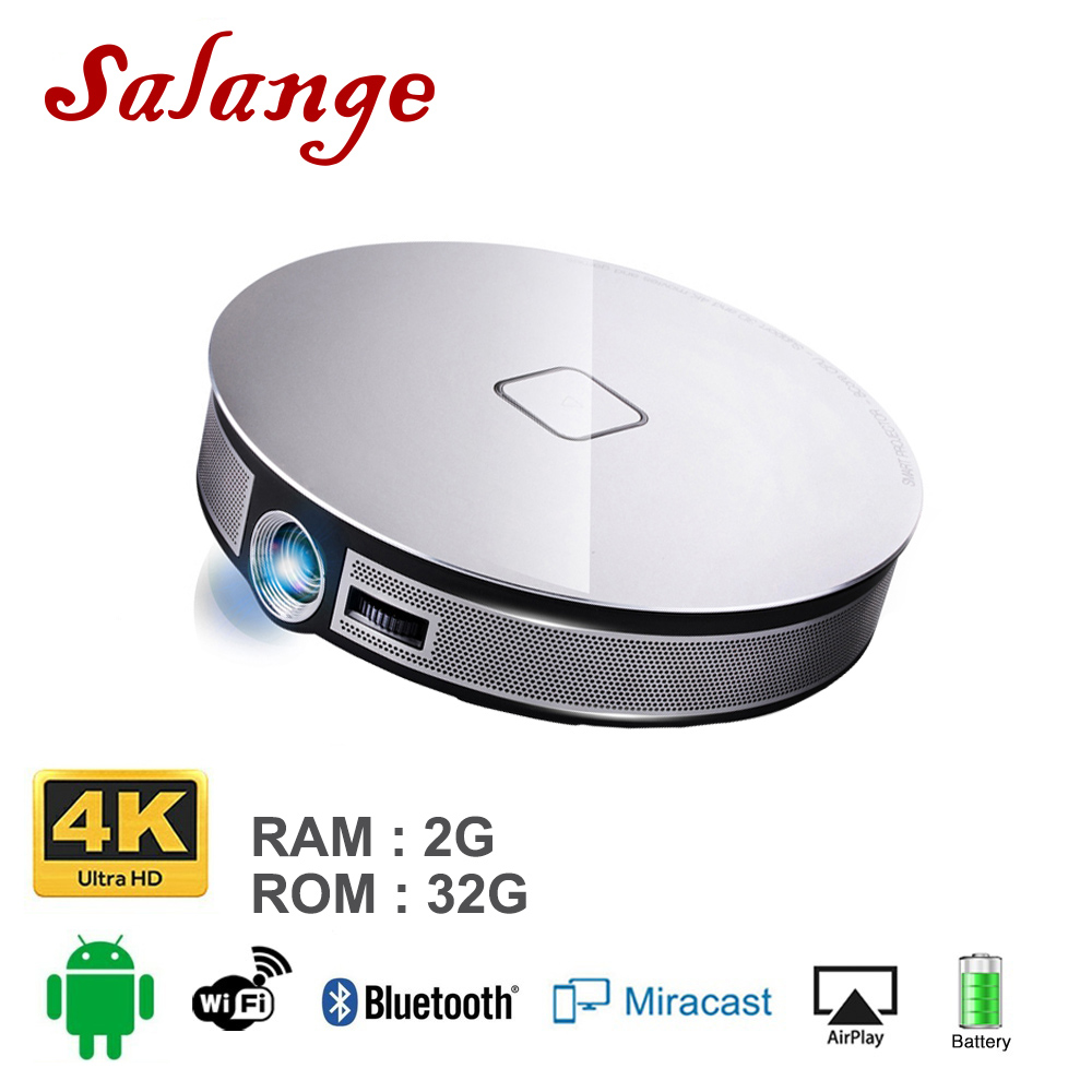 Salange D8S Projector Portable 2G+16G 1280*720 Resolution Built In Android 6.0 3D Dual WIFI 12000mAh Battery Beamer Proyector-in LCD Projectors from Consumer Electronics    1