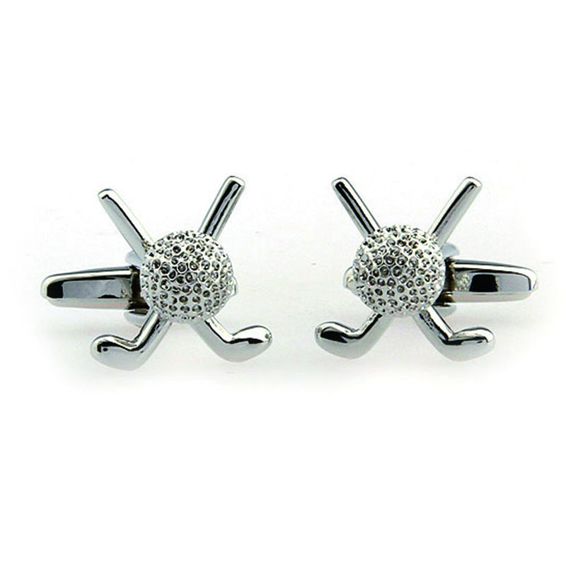 Promotion Silver <font><b>Golf</b></font> <font><b>Cufflinks</b></font> Men <font><b>Golf</b></font> Club Lepton Brand Stainless Steel cuff links for mens shirt cuffs <font><b>Cufflink</b></font> in Sport image