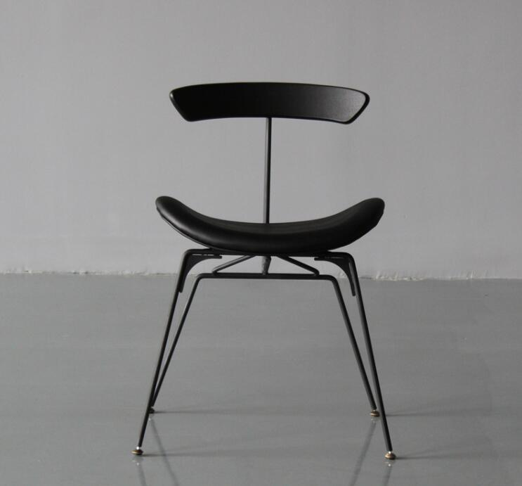 Industrial style dining chair designer light luxury retro LOFT wrought iron chair ant chair simple solid wood chair