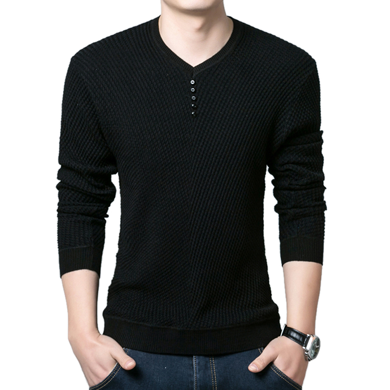 V-Neck Fashion Men Casual Pullover Male Warm Slim Fit Long Sleeve Mens Knitted Sweaters Autumn Botton Solid Sweater