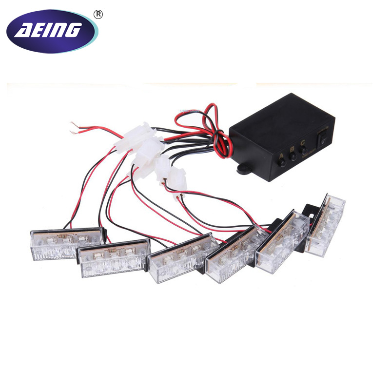 AEING LED Flash Flashing Strobe Warning Grill Light 6 x 3  LED EMERGENCY STROBE LIGHTS Red Blue Amber White
