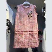 NIWIY Brand Dress Ukraine Sleeveless Winter Dress Vestido De Festa 2017 Pink Beading  Women Dress Robe Hiver 78829