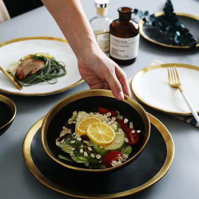 Европейская керамическая тарелка с золотой стороной западные пищевые стейки и блюдо рисовая салатная миска для десерта тарелка посуда поднос для посуды Кухня|salad bowl|dessert bowlsrice bowl | АлиЭкспресс