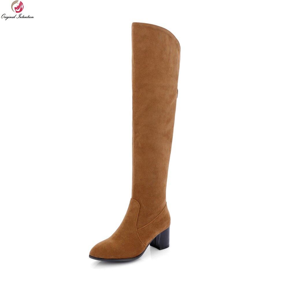 원래 의도 여자 무릎 부츠 좋은 지적 발가락 광장 발 뒤꿈치 부츠 블랙 그레이 브라운 신발 여자 미국 크기 4 14-에서무릎위 부츠부터 신발 의  그룹 1