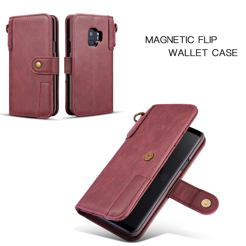 First Layer Cowhide Genuine Leather Wallet Case For Samsung Galaxy S9 S9 Plus Wallet Cover Kickstand Pouch Straps Vintage in Wallet Cases from Cellphones Telecommunications