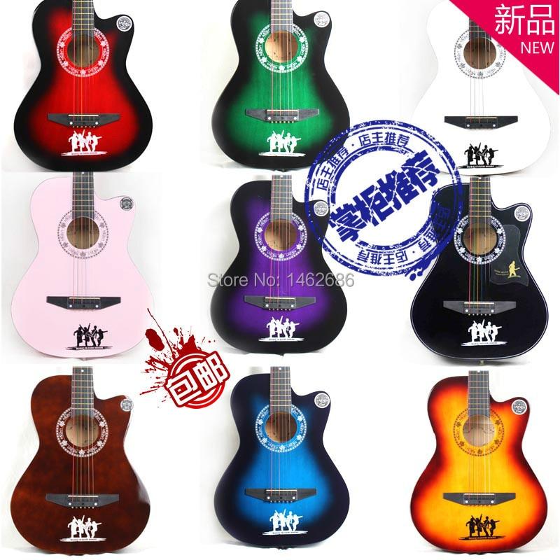 Qinandelu Brand New 38 Inch Color Beginner Guitar Folk Guitar Chord