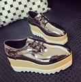 Novo 2016 hight aumentar sapatos Mulher sapatos Casuais Sapatos de couro PU mulheres creepers feminino sapatos de superstar rihanna