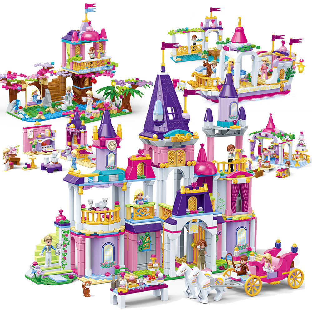 NEW Princess Series Castle Party Building Blocks Sets Legoes Bricks Classic Kids Girl Gifts Model Toys Friends