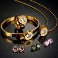 Nueva Llegada Dubai Chapado En Oro Rosa de Acero Inoxidable Sistema de La Joyería 4 Color CZ Anillo Pulsera Pendientes Collar Set Crystal para mujeres