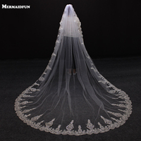 2019 New Sequined Lace One Layer Beautiful Wedding Veil with Comb Lace Edge White Ivory Veil Wedding Accessories