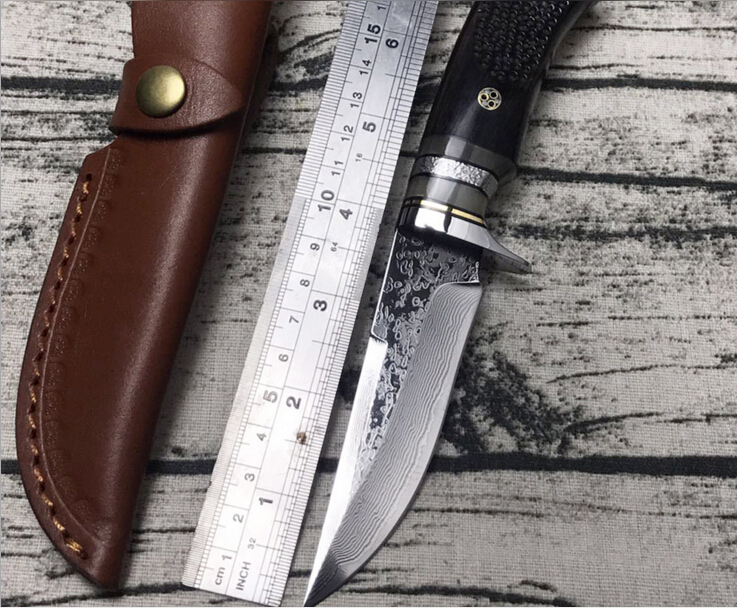 Sharp wood handle Hunting Knife Handmade forged VG10 Damascus Steel camping knife 58-60HRC leather handle survival Tactical tool quality tactical folding knife d2 blade g10 steel handle ball bearing flipper camping survival knife pocket knife tools