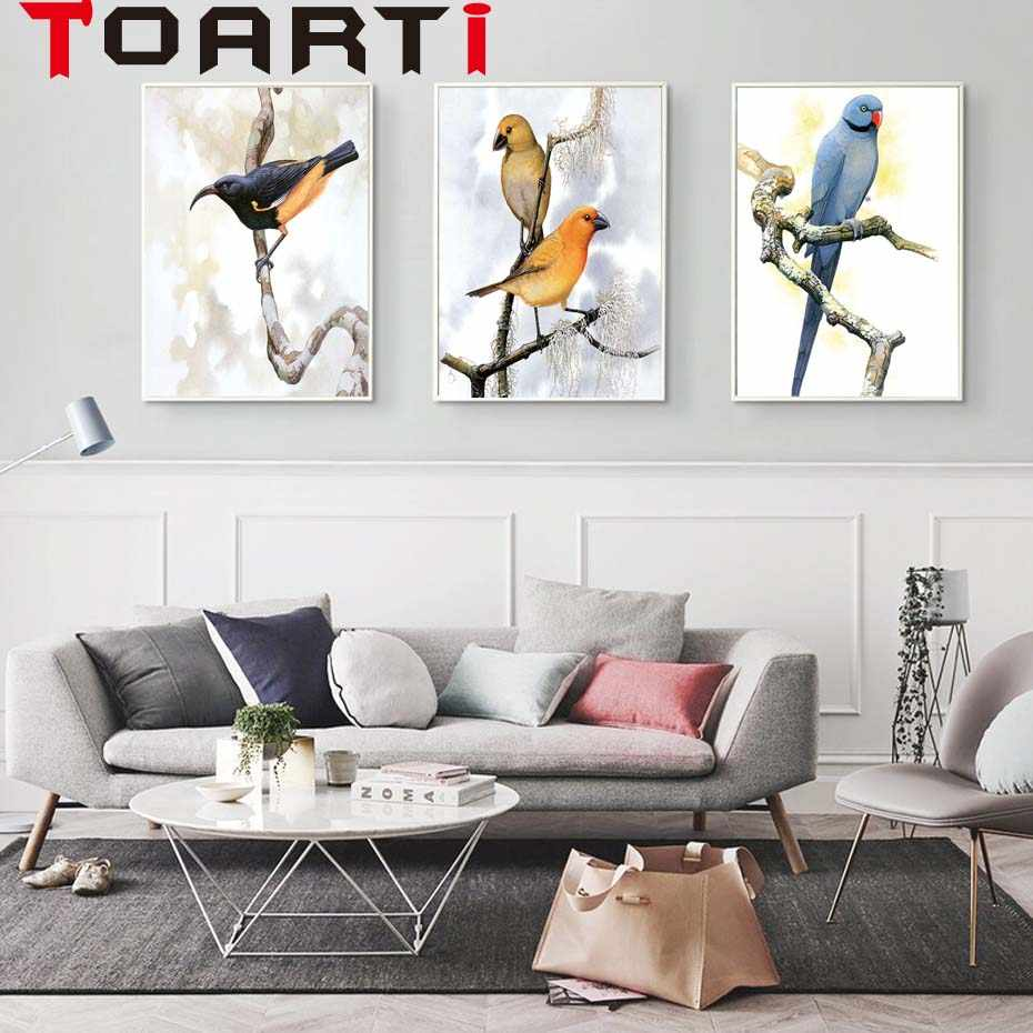 Elegant Poetry Bird on the Tree Modern Simple Nordic A4 Canvas Painting Art Print Poster Wall Paintings Bedroom Home Decoration