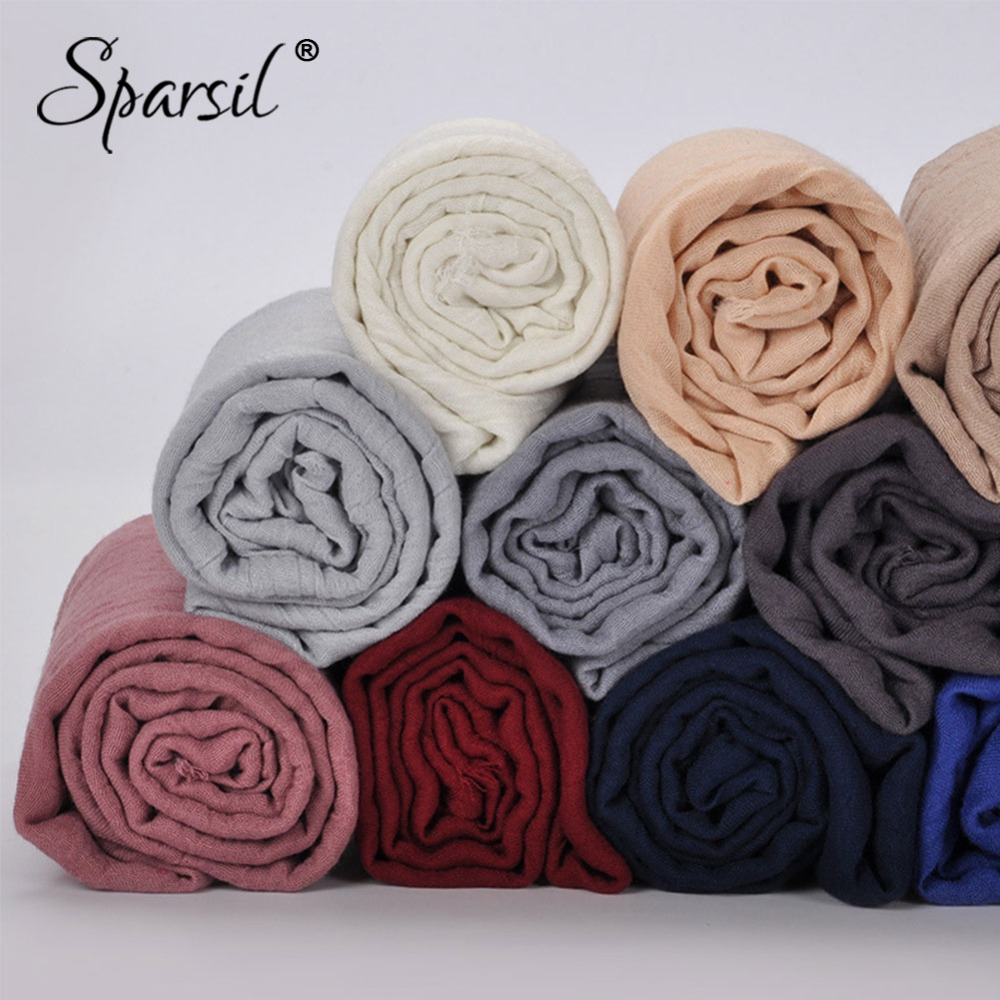 Sparsil Women Summer Soft TR Cotton Scarves Retro Tassels Solid Color 180x90 Shawls Female Thin Wraps Hijab Beach Holiday Scarf(China)