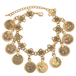 KMVEXO Party Hippy Boho Beach Turkish Jewelry Gold color Coin Vintage Bohemia Carved Coin Bracelets Bangles for Woman pulseras