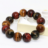 High quality 18mm natural Africa tiger eyes multicolor red blue yellow stone round beads elegant bracelet jewelry 7.5inch B1683