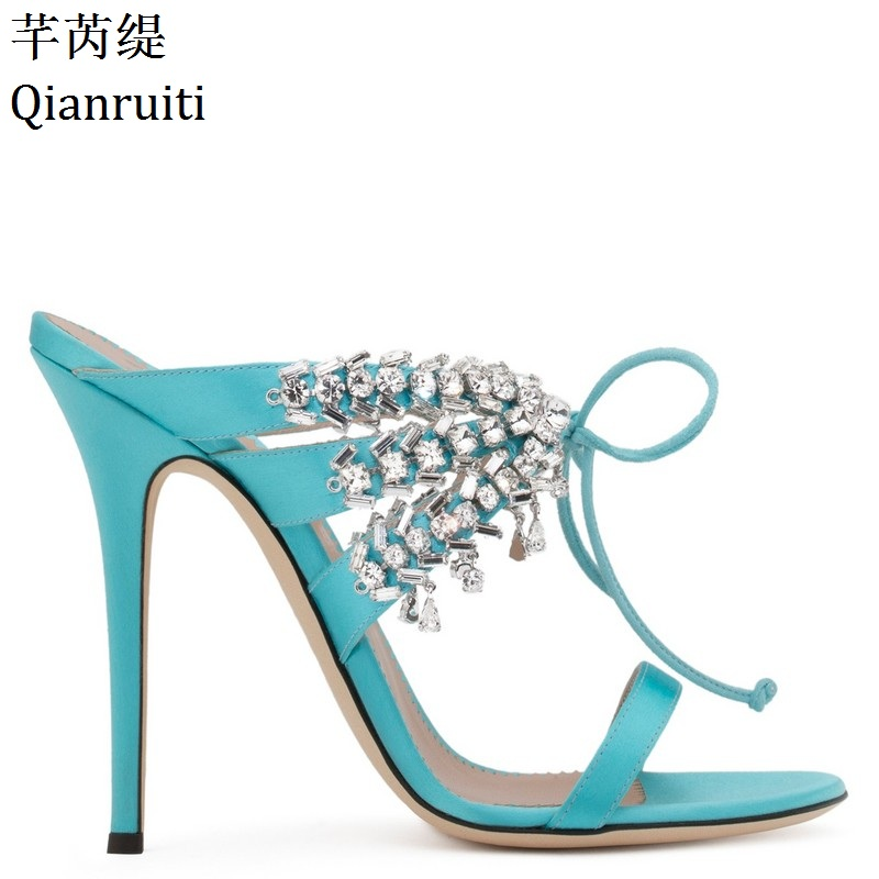 Qianruiti Summer Studded Crystal Stiletto Heels Women Sandals Open Toe High Heels Gladiator Shoes Rome Style Lace-Up Women Pumps newly arrival crystal embellished zip cover heel open toe women sandals solid black women rome casual walkway gladiator shoes