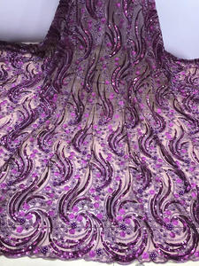 Lace-Fabric Embroidered Tulle Nigerian-Beads Sequins French High-Quality African New-Design
