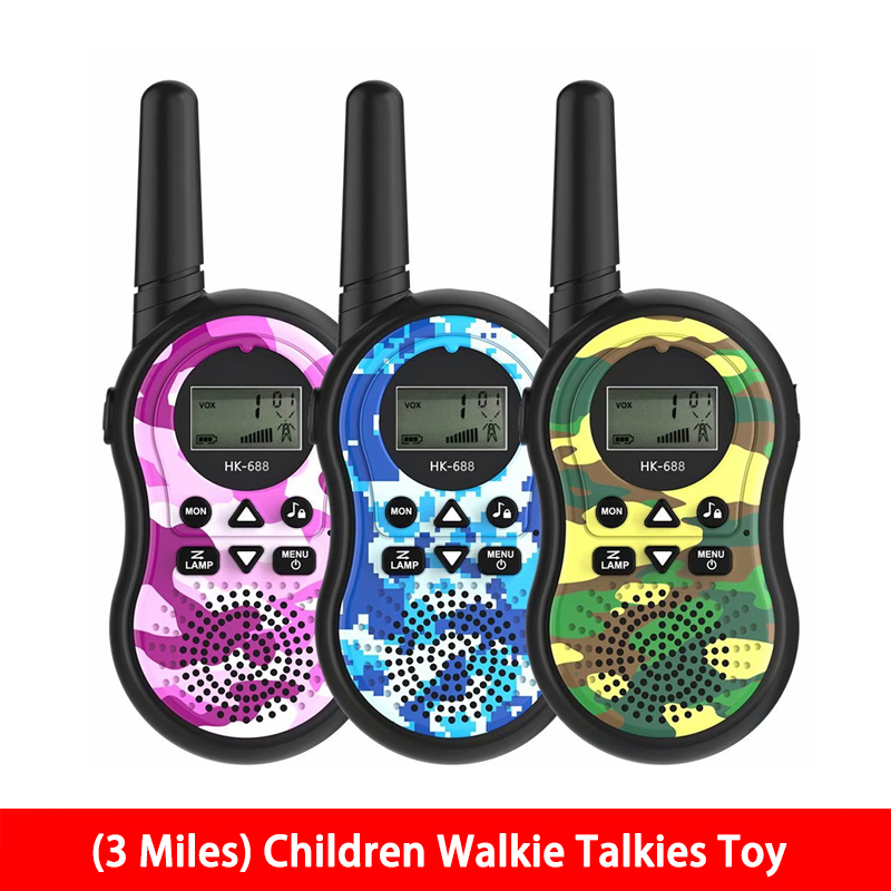 (3 Miles) Camouflage Walkie-Talkies 22 Channels 2 Way Radio Toy Long Range For Kids Outdoor Adventures Camping Hiking