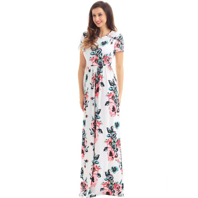 8a83fb2f1ed4cb Mode vrouwen maxi jurken zomer korte mouw print flora floor lengte jurk  voor vrouwen casual slanke