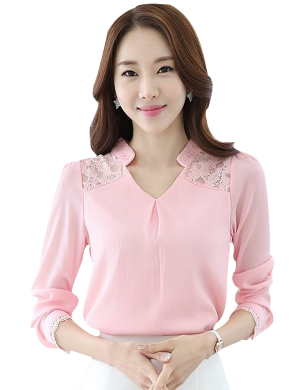 Women Lace Chiffon Shirt 2018 Summer Las Elegant Office Wear Clothes Long Sleeve V Neck Y Blouse 3xl 1391 In Blouses Shirts From