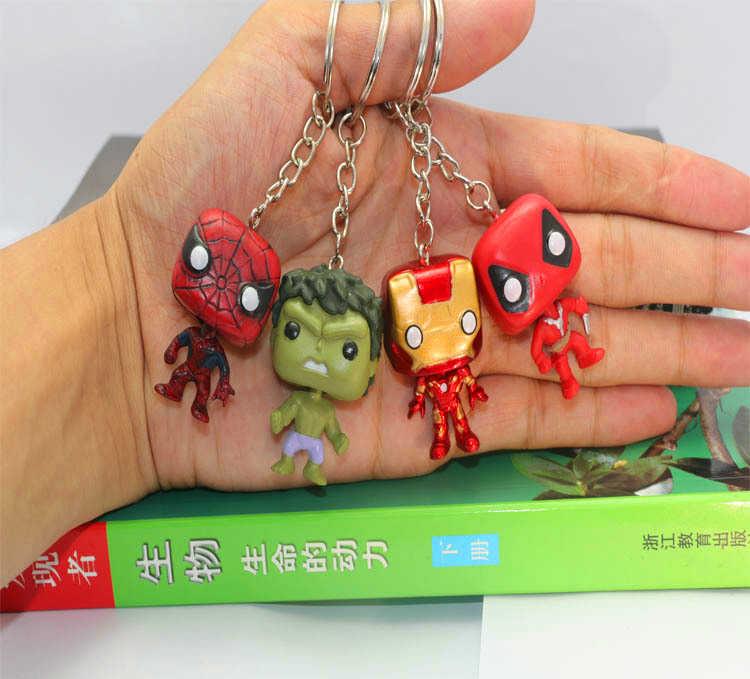 FUNKO POP Bolso Keychain Pop Super Herói Homem de ferro Homem Aranha Ação pvc figura Coleção modelo Brinquedos