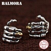 Balmora 925 فضة اليد و الجمجمة خمر كليب أقراط للنساء رجال حزب هدية الأزياء كول مجوهرات brincos SY31570
