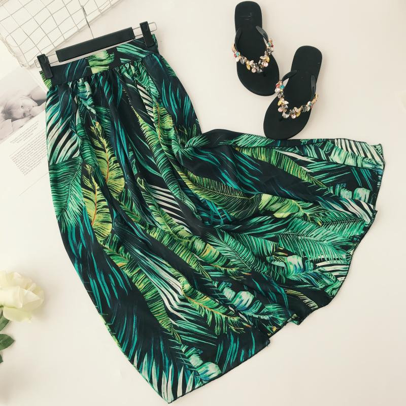Queenus Women Long Skirt Summer Autumn Pleated Skirts Green Plant Fashion Vintage Female Lady Office Maxi Boho Skirt