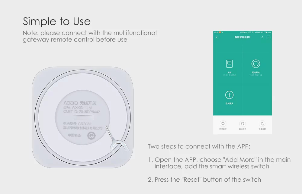 Xiaomi MIJIA Aqara Smart Wireless Switch for xiaomi Smart Home house Remote Control Center for Mijia Home APP Gateway Hub # (6)