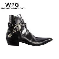 WPG 최고 품질의 새로운 스타일 디자이너 블랙 페인트 남성 럭셔리 브랜드 첼시 남성 서양 오토바이
