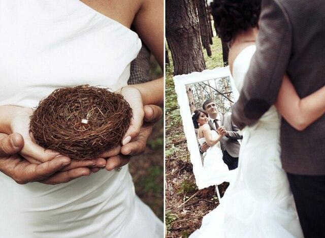 Bruiloft decoraties land stijl rotan vogels nest mini vogelnest