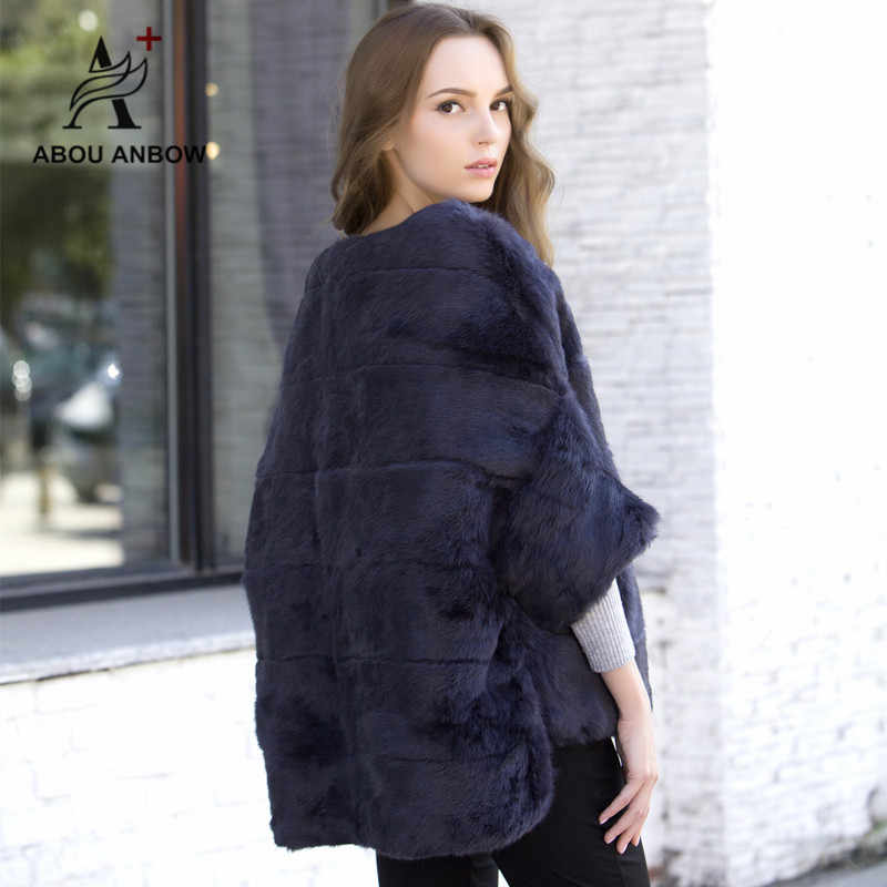 ae5c4a8d2 ... Women's Rabbit Fur Bat sleeved Jacket Female 2019 Newest Autumn and  Winter Natural Fur Coat Pink ...