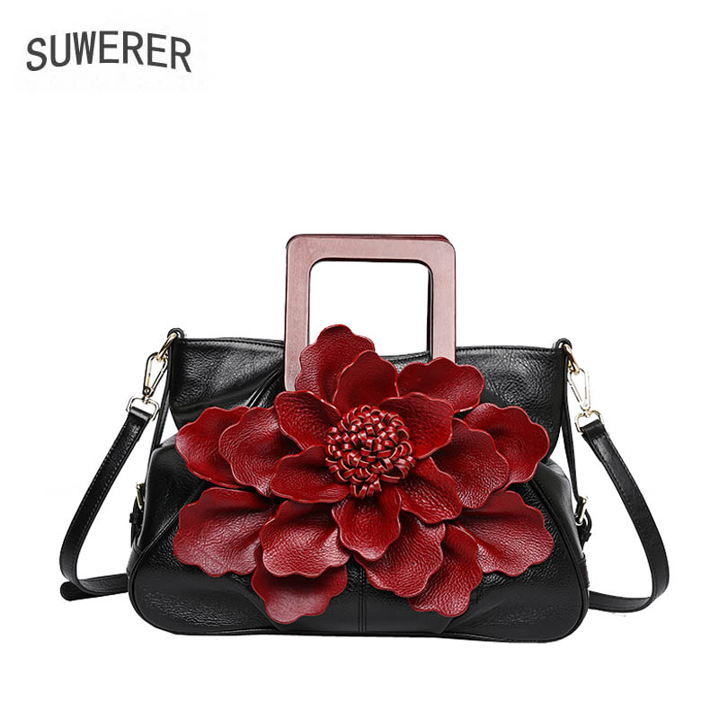 SUWERER 2018 New women bag genuine leather brands Handmade flower fashion top cowhide tote women handbags leather art bag 2018 new women bag genuine leather brands top quality cowhide chinese style embossed women handbags fashion leather tote bag
