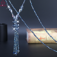 2019 New Graceful Crystal Beads Long Necklace Women Boho Fashion Shiny Blue Water Drop Sweater Chain Summer Joker Party Jewelry graceful rhinestone alloy sweater chain for women