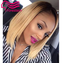 bob style ombre lace wig 100% human hair bob wigs two tone brazilian virgin human bob hair cut full/front lace ombre wigs