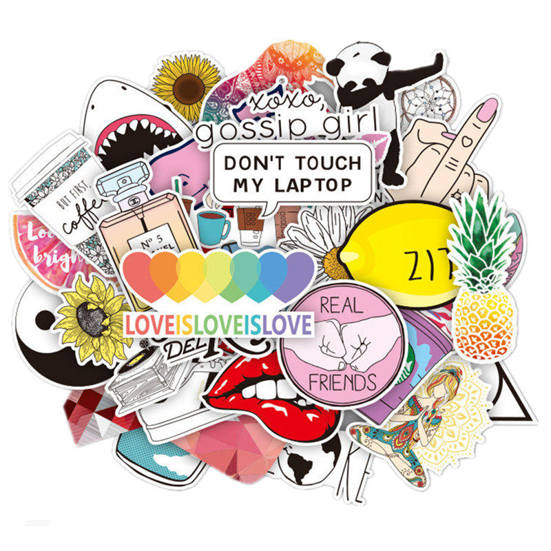 45Pcs Vinyl Laptop Sticker Cute Trendy PVC Waterproof Computer Stickers Refrigerator Decal Stickers For MacBook /HP/Huawei Skin