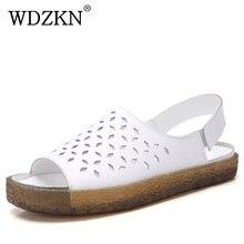 WDZKN 2020 Echtem Leder Frauen Sandalen Offene spitze Aushöhlen Gladiator Sandalen Frauen Sommer Römische Schuhe Flache Beiläufige Damen Sandalen