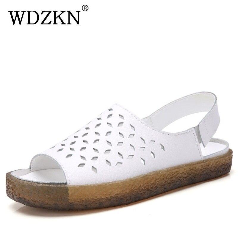 WDZKN 2020 Genuine Leather Women Sandals Open Toe Hollow Gladiator Sandals Women Summer Roman Shoes Flat Casual Ladies Sandals