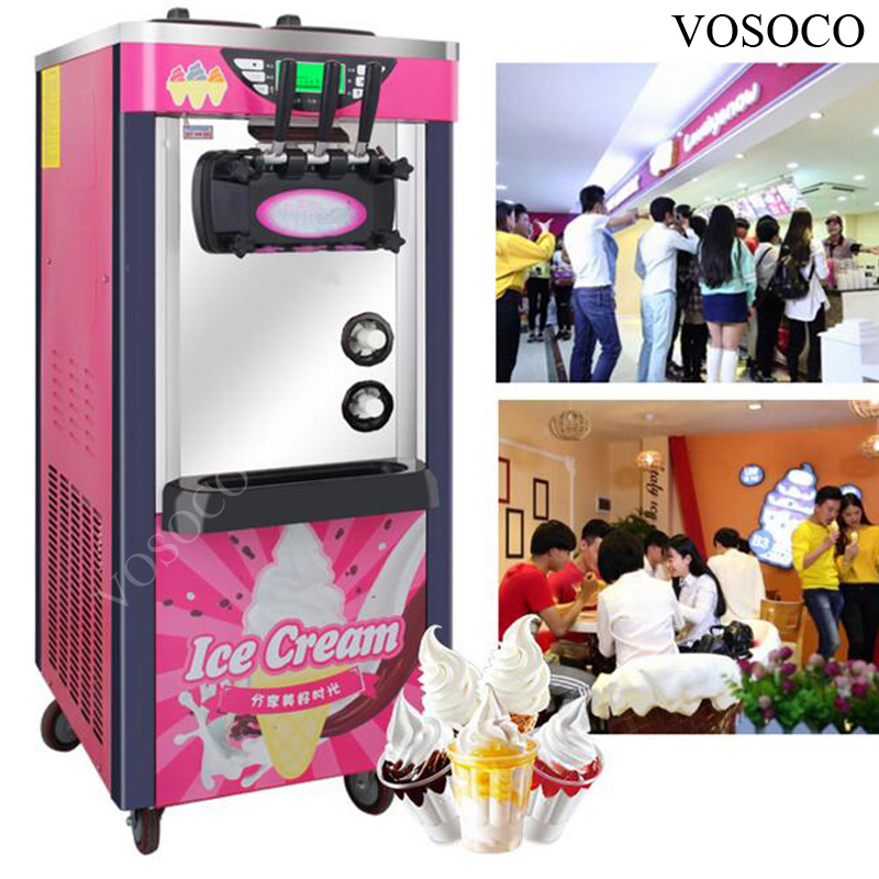VOSOCO Commercial ice cream cone machine vertical ice machine soft ice cream machine with automatic 3 flavors 28L large output