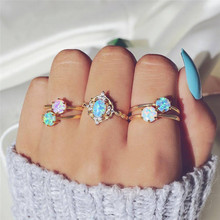 5Pcs/Set Women Fashion Fire Opal Crystal Rings Bohemian Punk Elephant Hollow Flower Gold Color Joint Ring Lady Party Set