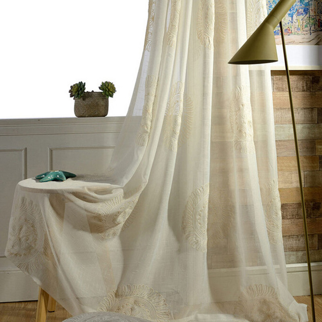 Boho Embroidered Sheer Faux Linen Window Screening Embroidered White  Balcony Yarn Window Curtain Tulle Living Room