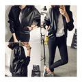 2017 Spring Autumn European Women Fashion  Style PU Leather Black Short Jacket Casual Zipper Locomotive ladies Jacket
