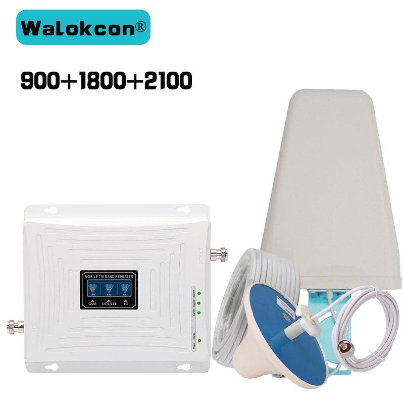 2G 3G 4G GSM 900 WCDMA 2100 LTE 1800 Tri bande répéteur de Signal de téléphone portable amplificateur de Signal GSM amplificateur 3g 4g ensemble d'antenne 4G LTE