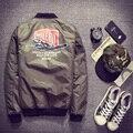 """2016 Ma1 Army Green Военный мотоцикл Летную Куртку Пилота Ввс Мужчины Американский Колледж Varsity Куртка Куртка """"Пилот"""""""