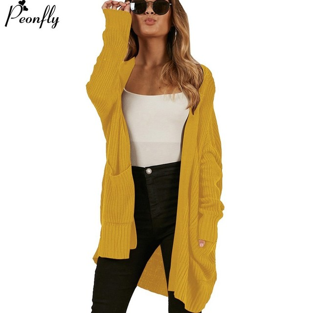 Us 2079 22 Offpeonfly Long Cardigan Female 2018 Knitted Autumn Winter Sweater For Women Long Sleeve Coat Jacket Tricot Cardigan Femme In Cardigans