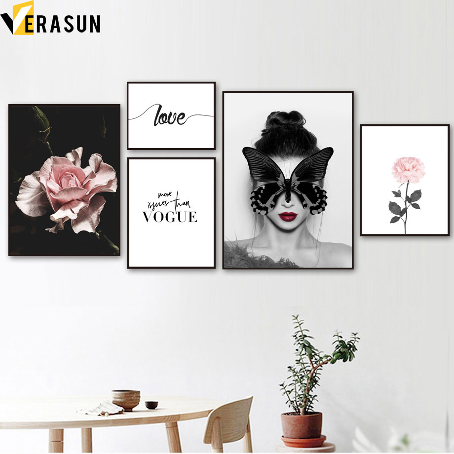 Vogue Girl Butterfly Flower Plant Love Wall Art Print Canvas Painting Nordic Posters And Prints Wall Picture For Living Room in Painting Calligraphy from Home Garden