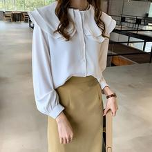 Yfashion Chiffon Flouncing Collar Blouse Shirt Women Long Sleeve Solid Color New Fashion Lady Blouses for Female