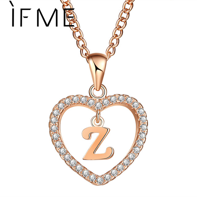 IF ME Design Z Letter Name Necklaces & Pendant For Women Girl Fashion Long Chain Heart Necklaces Cubic Zirconia Gifts